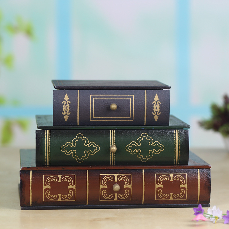 Antique style book type three layers drawer resin jewelry box dressing table home decoration accessories
