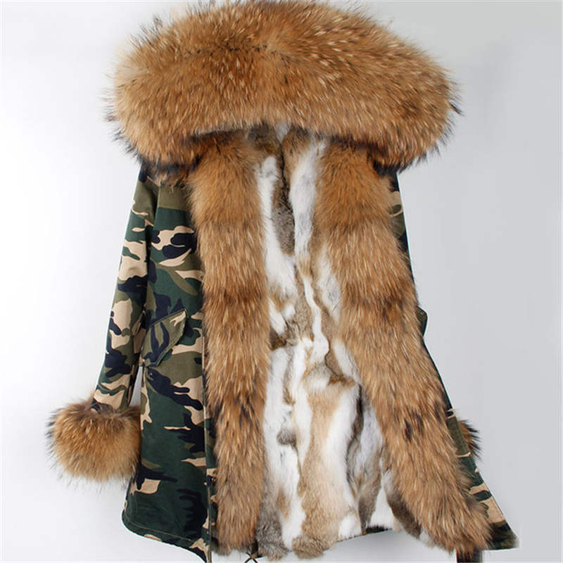 2017 new Detachable parka real fur coat winter jacket women natural raccoon fur collar warm thick rex rabbit fur liner parkas 2017 winter new clothes to overcome the coat of women in the long reed rabbit hair fur fur coat fox raccoon fur collar