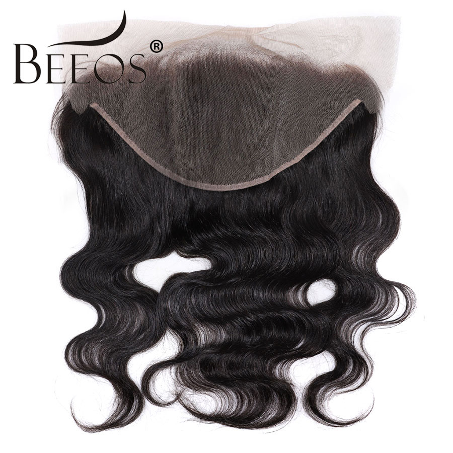 Beeos Deep Part Ear to Ear 13x6 Lace Frontal Closure 8 20inch Brazilian Remy Human Hair Frontal Pre Plucked Bleached Knots-in Closures from Hair Extensions & Wigs