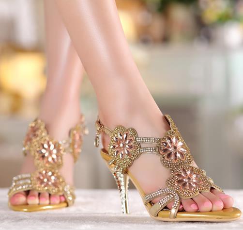 ФОТО 2017 Roman Genuine Leather Women Rhinestone Slippers High Heel Sandals Flowers Wedding Shoes sandalias femininas salto alto