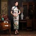 Elegant Women Long vestidos Cheongsam Long blue and white porcelain Qipao Vintage Chinese Traditional Dress Size:S M L XL XXL