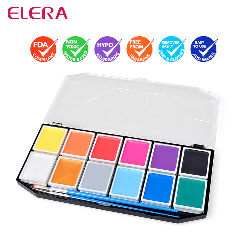 FDA NON TOXIC Water Based Body Painting Tattoo 12 Colors Face ...