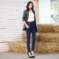 Узкие джинсовые брюки женские с высокой талией сексуальные обтягивающие джинсы пуш ап Pantalones