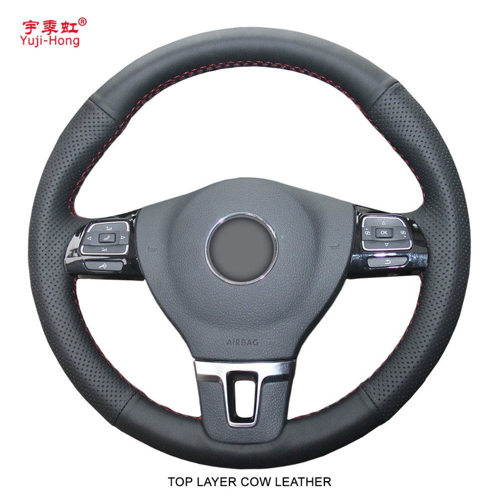 Yuji Hong Top Layer Genuine Cow Leather Car Steering Wheel Covers Case for Volkswagen VW CC