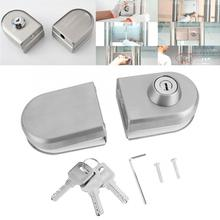 10~12mm Stainless Steel Glass Door Lock Latc with Keys Open / Close Door Latch Locks w/ Accessories Home Hotel Bathroom Use hotel system t5557 card rf stainless steel electronic card hotel door handle locks et800rfs
