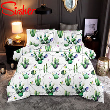 Sisher Pastoral Duvet Cover Set Polyester Cotton Bedding Set 3D Green Plant Pillowcase Covers Size Single Double Full Queen King bedding set double tango 684 50