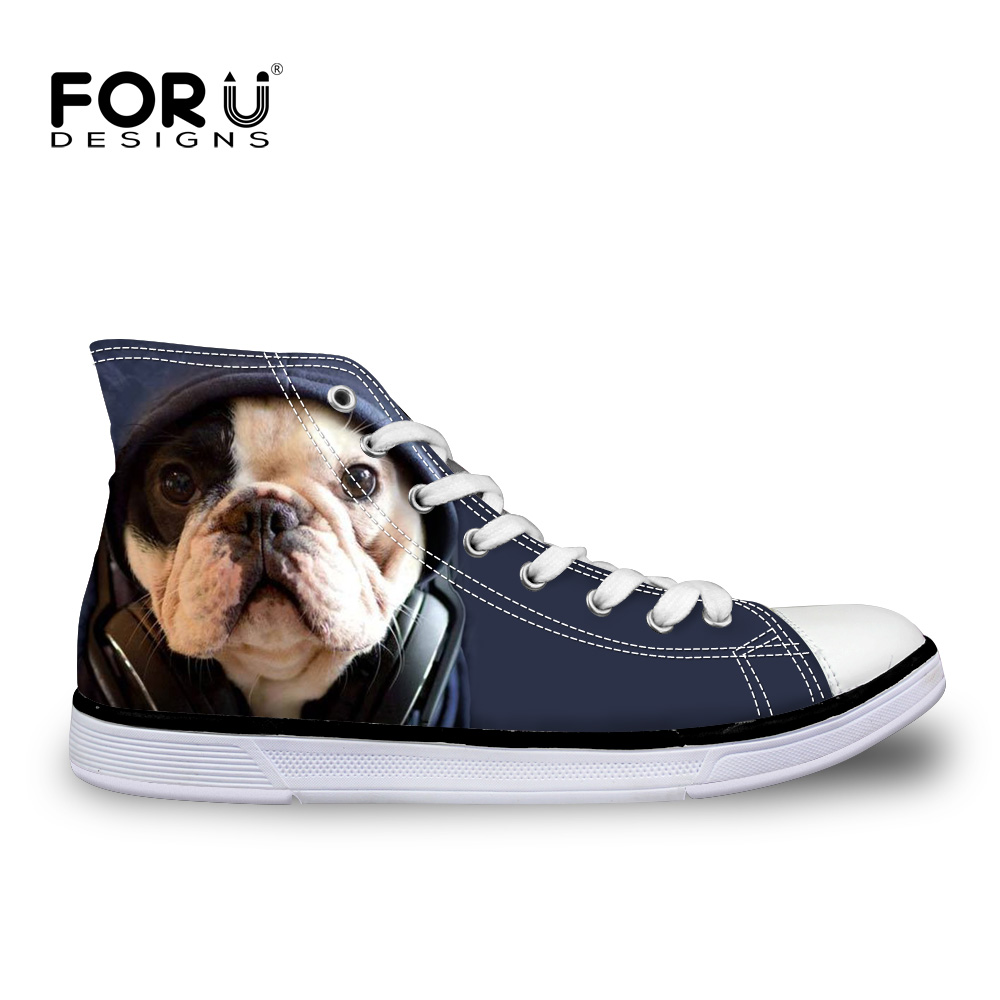 FORUDESIGNS Mote Damer Casual 3D Animal Fransk Bulldog Frenchie Trykt Sko Kvinnelig Lace Up Flats Jente High Top Canvas Shoes