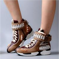2017 смешанных Цвет Спортивная обувь Кожа Кружево на шнуровке обувь на платформе с высоким берцем женские повседневные туфли на плоской подо