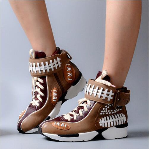 2017 chaussures de Sport de couleur mixte en cuir chaussures à lacets haut de la plate-forme décontracté femmes appartements porte chaussures décontractées Mujer couture