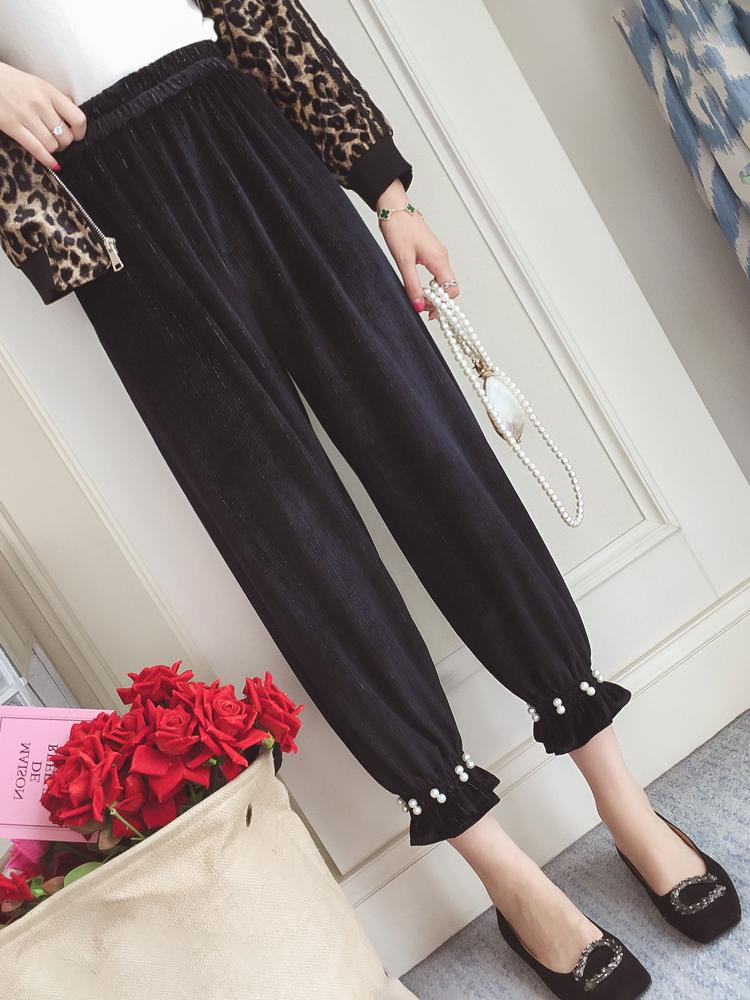 Utile Pengpious 2018 Vintage Beaded Bootleg Jeans Pregnancy Pleuche Slacks Ankle-length Belly Trousers Maternity Abdomen Loose Pants Colore Veloce