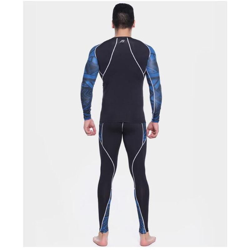 Mens Compression Shirts + Hosen Sets Trainning Gym MMA Gewichtheben Fitness Haut Engen Basis Schichten Set - 3