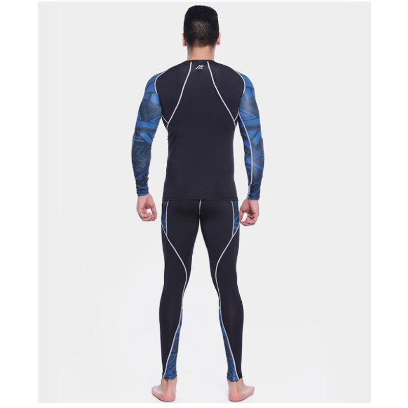 Mens Compressione Camicette + Pants Set Trainning Palestra Corsa e Jogging MMA Sollevamento Pesi Fitness Della Pelle Stretto Abbigliamento intimo Set - 3