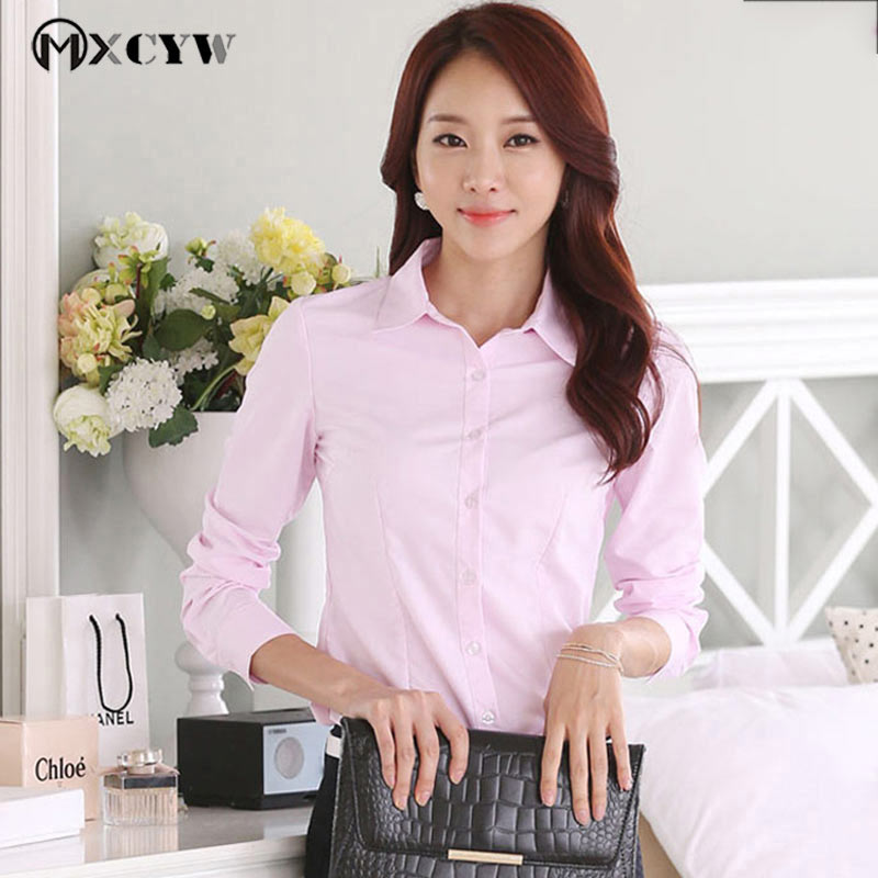 Cotton Solid Slim WomenS Blouse Plus Size Fashion Long Sleeves Turndown Business Attire Stitching Formal Tops WomenS Clothing ...