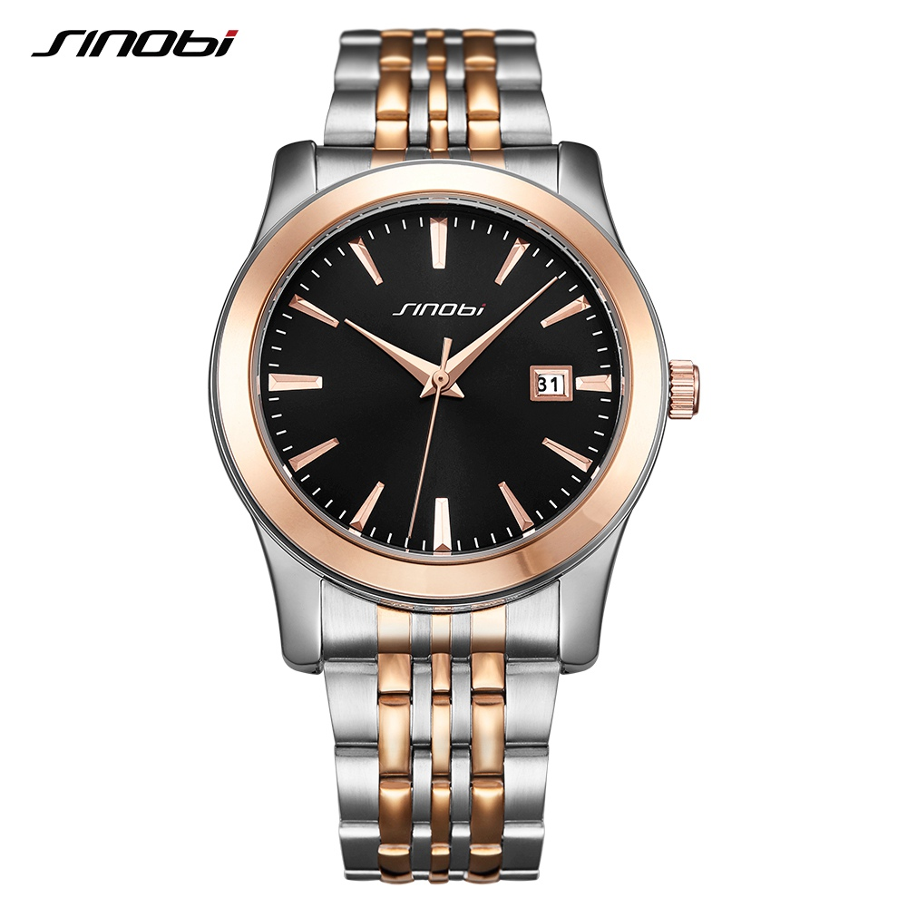 SINOBI Men Watches Classic Fashion Business Wedding Gift Golden Wristwatch Men Stainless Steel Top Brand Analog Quartz Watch