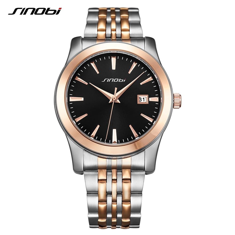SINOBI Men Watches Classic Fashion Business Wedding Gift Golden Wristwatch Men Stainless Steel Top Brand Analog Quartz Watch