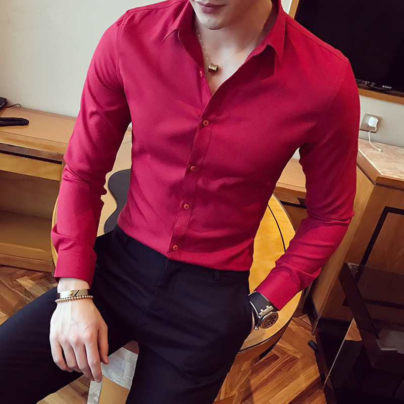 558ed96cb66 2019 stylish men in the spring and autumn season cotton long sleeve shirt  Male high-grade pure color slim business shirt ~ Premium Deal May 2019