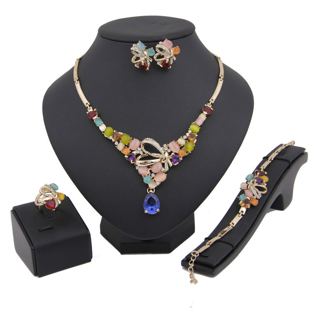 Wedding Costume Bridal Party Jewelry Sets Accessories Colorful Fashion Women Brand CZ Crystal Gold Plated African Beads Vintage
