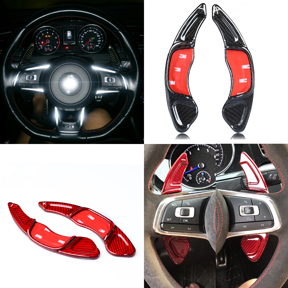Carbon Fiber Car Steering Wheel Extension Interior Paddle Shifter for Volkswagen Golf 7 MK7 R Scirocco