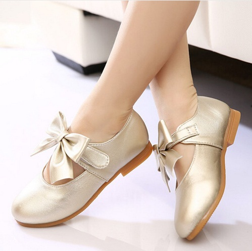 2016 new princess girls children shoes girl flat gold pink rose shoes bowknot cute wedding party