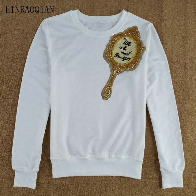 LINRAOQIAN Harajuku T Shirt Women Tops Sequin Mirror Embroidery Letter  Funny T Shirts Autumn Long Sleeve Tshirt Camiseta Mujer b0a8f9508d32
