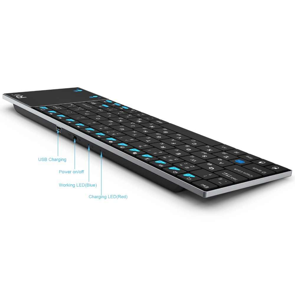 a6efe86d7b8 ... Russian Keyboard Rii mini i12 Wireless Keyboard with Touchpad mouse Mini  PC Teclado for Tablet Apple ...