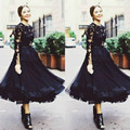 Black Evening Dresses 2016 Tea Length Long Sleeves Formal Women Evening Gowns robe de soiree