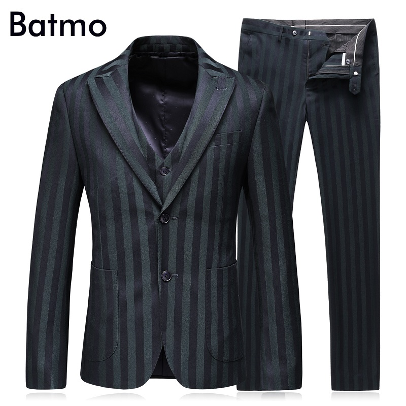 Batmo 2017 new arrival High quality striped mens suis,wedding dress suit men,mens Busine ...
