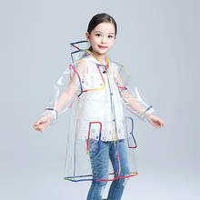 Mehonestly 1pc fashion waterproof children clear long hooded raincoat jacket kids transparent EVA rainwear for boys girls