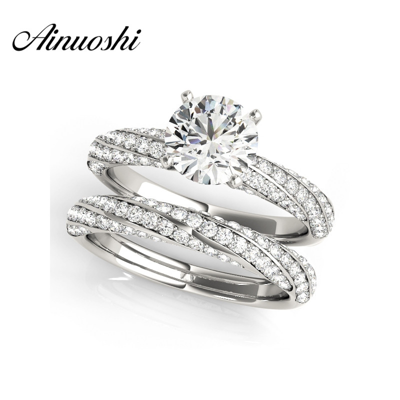 AINUOSHI 925 Sterling Silver White Gold Color Twisted Wedding Bridal Ring Sets 1ct Round Cut Engagement Lover Ring Sets Jewelry цена 2017
