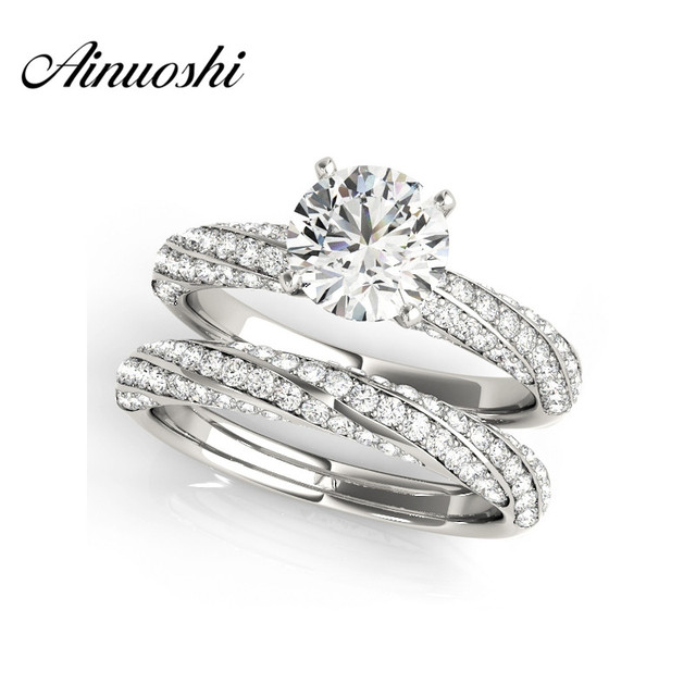 AINUOSHI 925 Sterling Silver White Gold Color Twisted Wedding