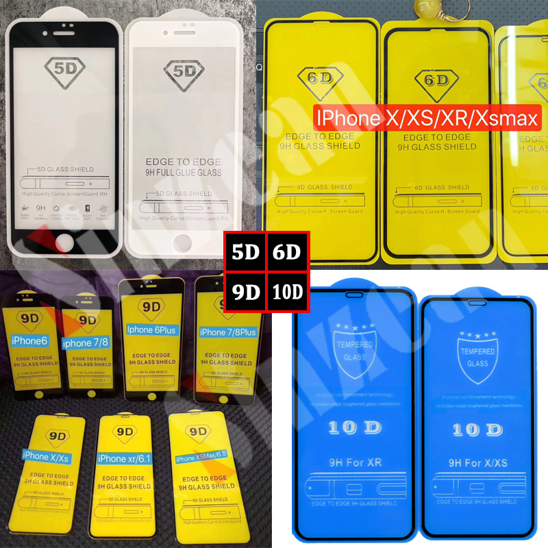 Sinzean 100pcs 5D 6D 9D 10D Full Glue Tempered Glass for iphone XS MAX XR 6