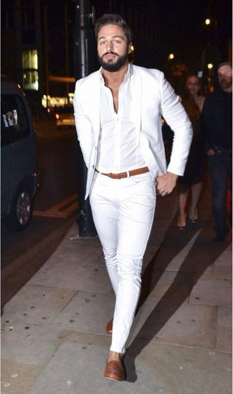 (Jacket+Pants) 2019 Street Fashion White Men Suit Casual Terno Slim Fit 2 Pieces Tuxedo Custom Blazer Office Men Work Wear