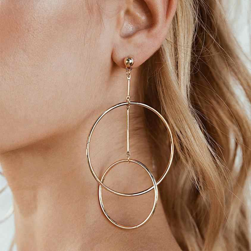1 Pair New Fashion Lady Women Earrings Thin Round Big Large Dangle Hoop Loop Earrings welry Accessories Pendientes Oorbellen
