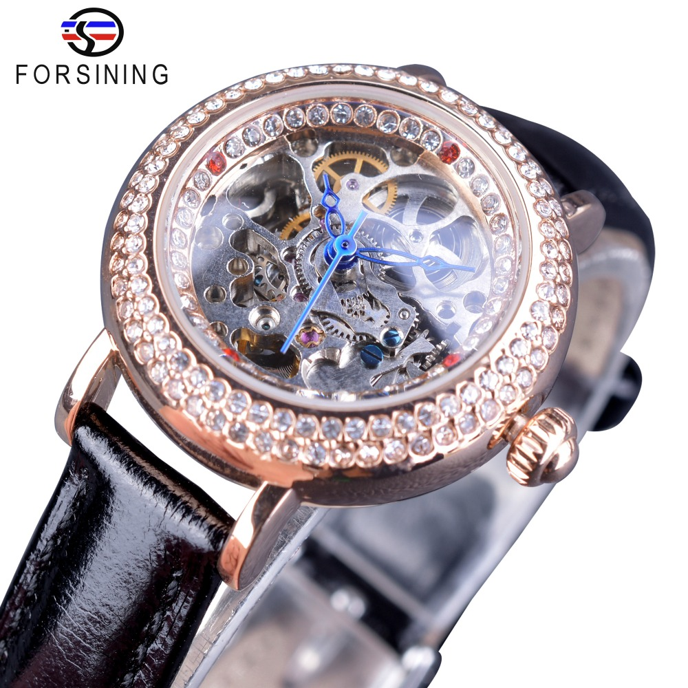 Forsining Office Lady Design Fashion Black Belt Small Dial Diamond Display Women Casual Luxury Skeleton Automatic Wrist Watches карабин black diamond black diamond rocklock twistlock