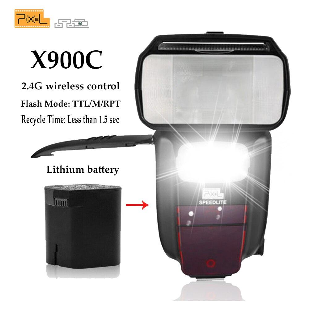 Pixel X900C X900 E TTL 2,4 г HSS Беспроводной Многофункциональный литиевая Батарея Вспышка Speedlite для Canon DSLR камер с светодиодный свет