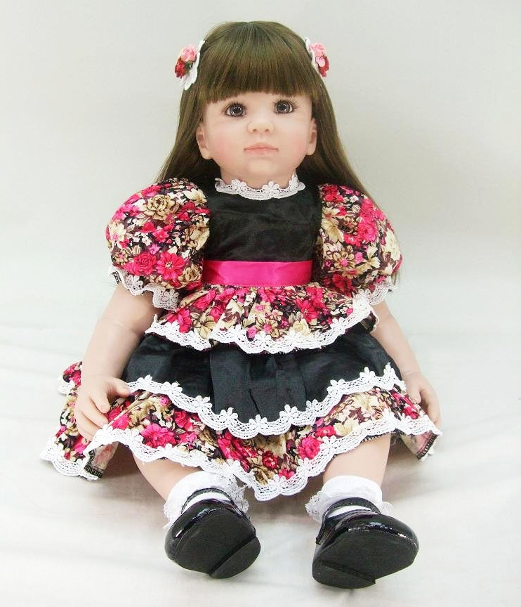 Pursue 24/60 cm Colorful Dress Soft Vinyl Silicone Reborn Toddler Princess Girl Baby Doll Toys for Children Girls Birthday Gift pursue 24 60 cm soft cloth body vinyl silicone reborn toddler princess girl baby doll toys for children girls boy birthday gift