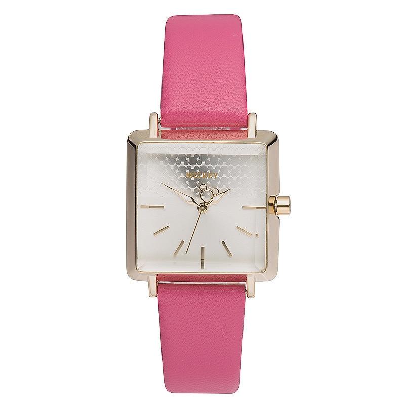 Disney brand girl wrist watch Female cartoon animation Mickey 30m waterproof quartz watch Leather square