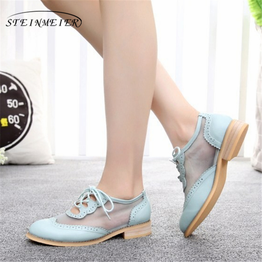 Women flat oxford shoes for women vintage plus size flats Spring oxfords shoes woman loafers genuine