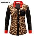 2016 Nueva Primavera Verano Moda Gasa de Las Mujeres Blusa Señora Camisa de Leopardo