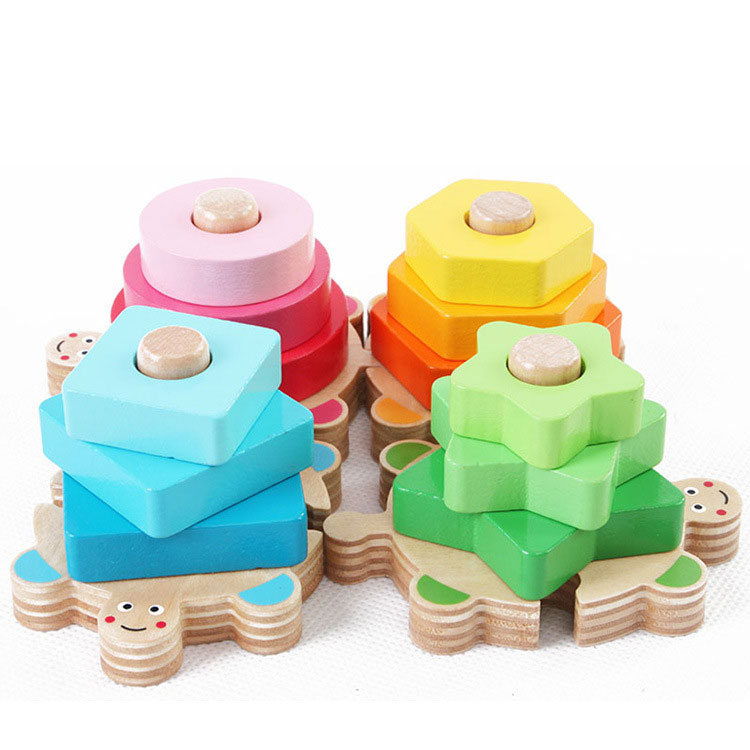 Kids Montessori Educational Game Blocks Tortoise 4 Pillar Matching Color Shape Wooden Colorful Wisdom Shape Column Toy Gift