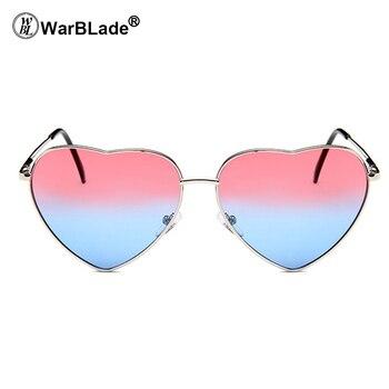 3cadc50228b09 WarBLade 2018 revêtement lunettes de soleil coeur femme nuances femmes  Points lunettes de soleil dégradé Multi couleur lunettes UV400 nuances
