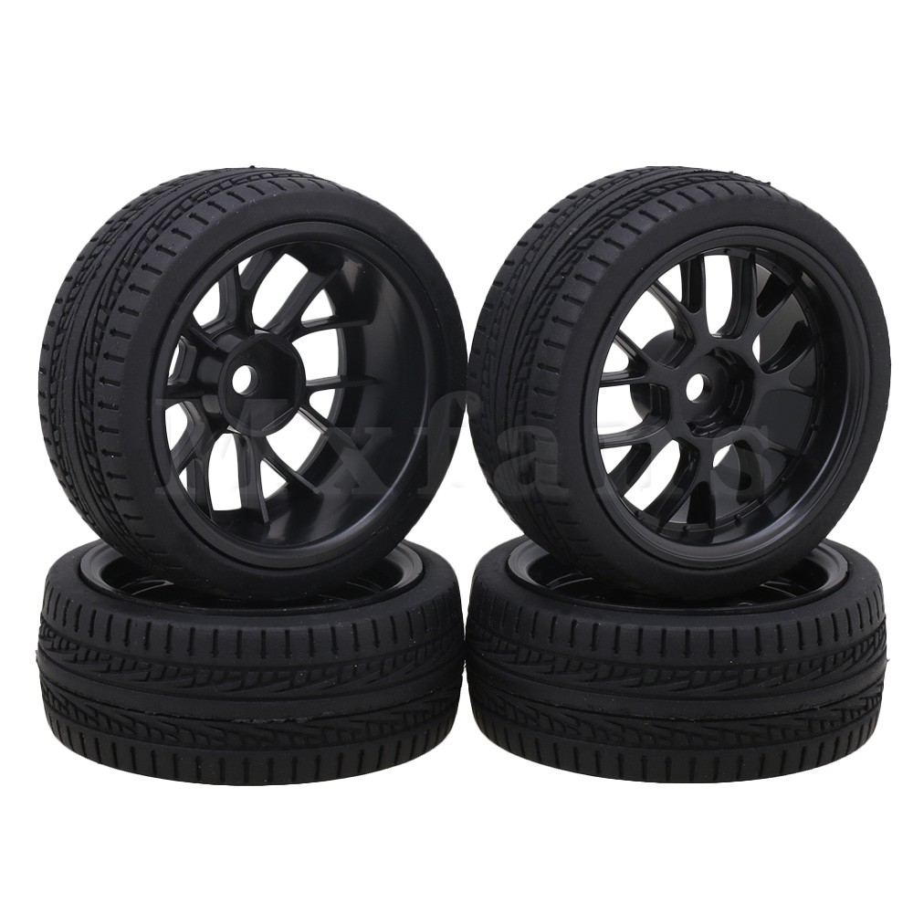 Mxfans Black Plastic Y Shape Wheel Rims Arrow Type Rubber Tyres for RC 1 10 On