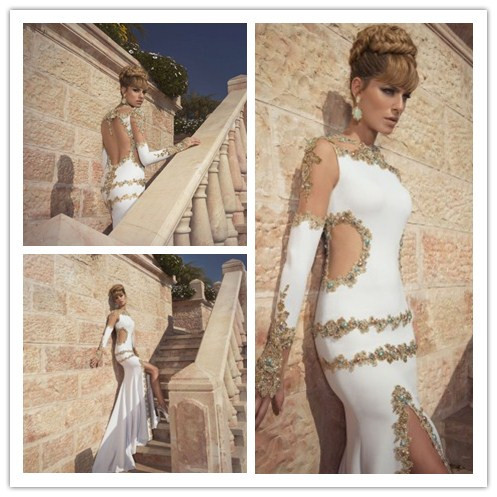 Egyptian Style 2015 Sexy Blackless Luxury Appliques Mermaid Wedding Dresses With Court Train Gold Sequin Bridal Gown Custom Made In From
