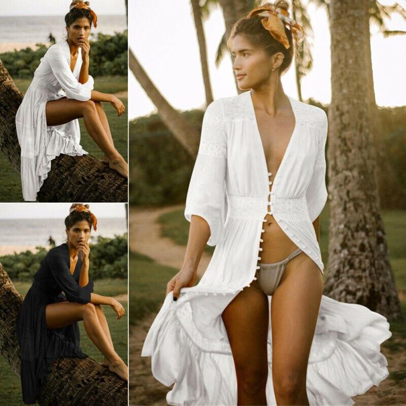 Fashion Sexy Women Cover Up Beach Dress Long Maxi Swimsuit Bikini V-Neck Casual Loose Shirt Summer Casual Bathing Suit