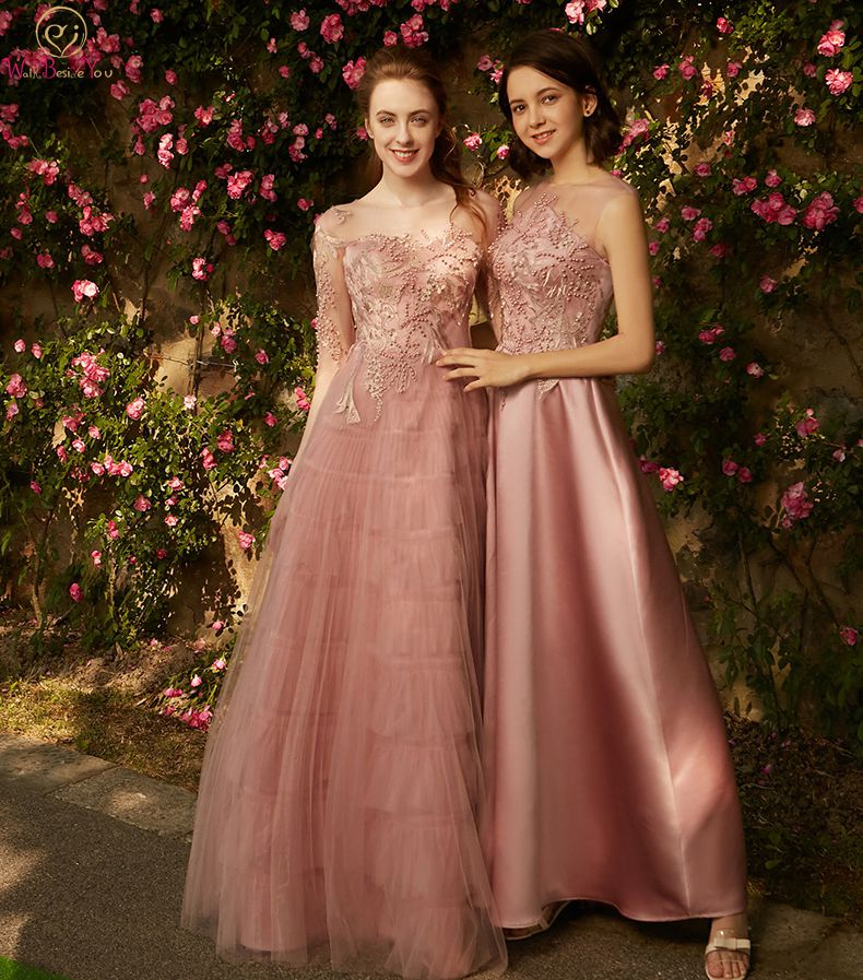Walk Beside You Pink Bridesmaid Dresses Illusion Sheer Neck Lace Applique Tulle Tiered Bruidsmeisjes Jurk Women A-line Long Gown