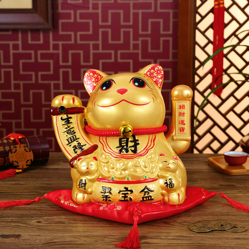 Golden cat voice induction speech set pieces of electric creative ceramic large opening shake hands Piggy bank home weddingGolden cat voice induction speech set pieces of electric creative ceramic large opening shake hands Piggy bank home wedding