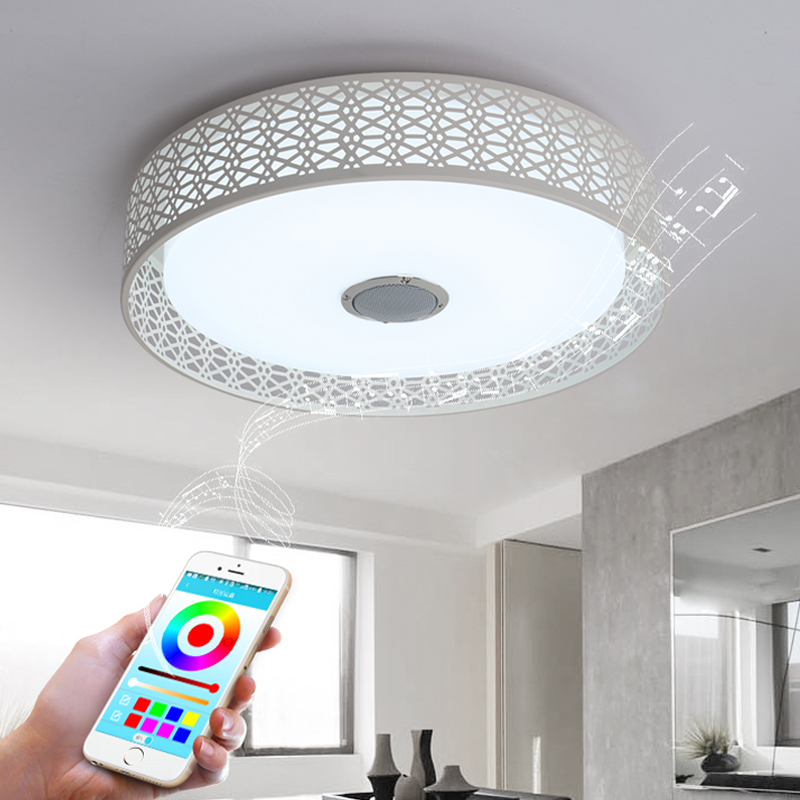 Modern Bluetooth Speaker LED Ceiling Light Remote Control RGB LED Music Lamp Dimmable Living Room Lighting lamp Smart APP [dbf]e27 10w bluetooth speaker for mobile smart led light lamp music wireless speaker color change dimmable by ios android app
