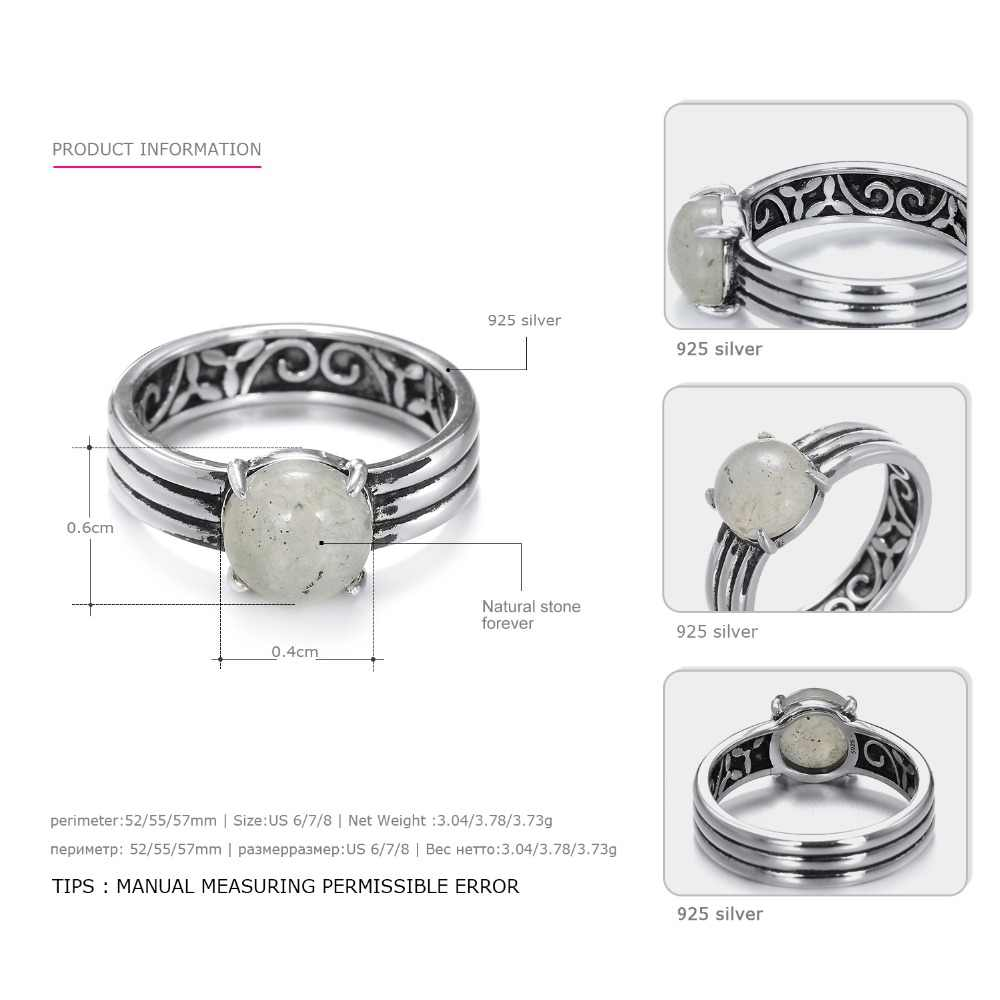 E - Manco 925 เงินสเตอร์ลิงสีเทาควันคริสตัลหินธรรมชาติแหวนงานแต่งงานและหมั้นแหวนของขวัญใหม่มาถึง