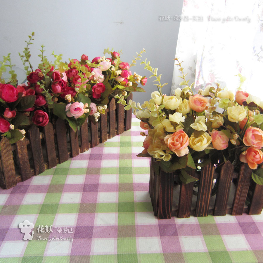 Cloth tea rose artificial flower set wood fence artificial for Artificial flowers decoration for home