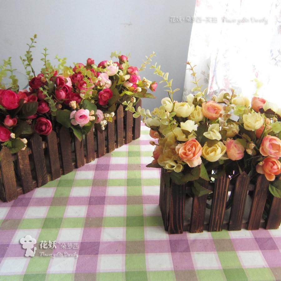 Tissu thé rose fleur artificielle ensemble clôture en bois fleur artificielle ensemble rustique décoration de la maison fleur artificielle